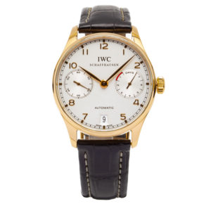 IWC Portuguese 7-Day 42.3mm 18kt YG Case w/ Leather Strap - IW500101 Dial