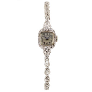 Hamilton Vintage Ladies Art Deco 14kt White Gold & Diamonds 15mm Dial
