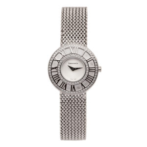 Tiffany Ladies Atlas 18kt White Gold w/White Dial & Diamond Bezel Dial