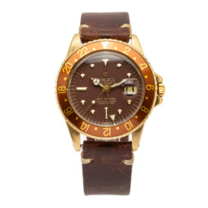 "Vintage Rolex GMT-Master ""Rootbeer"" 18kt Yellow Gold w/Brown Leather Strap - 1675/8 Dial"